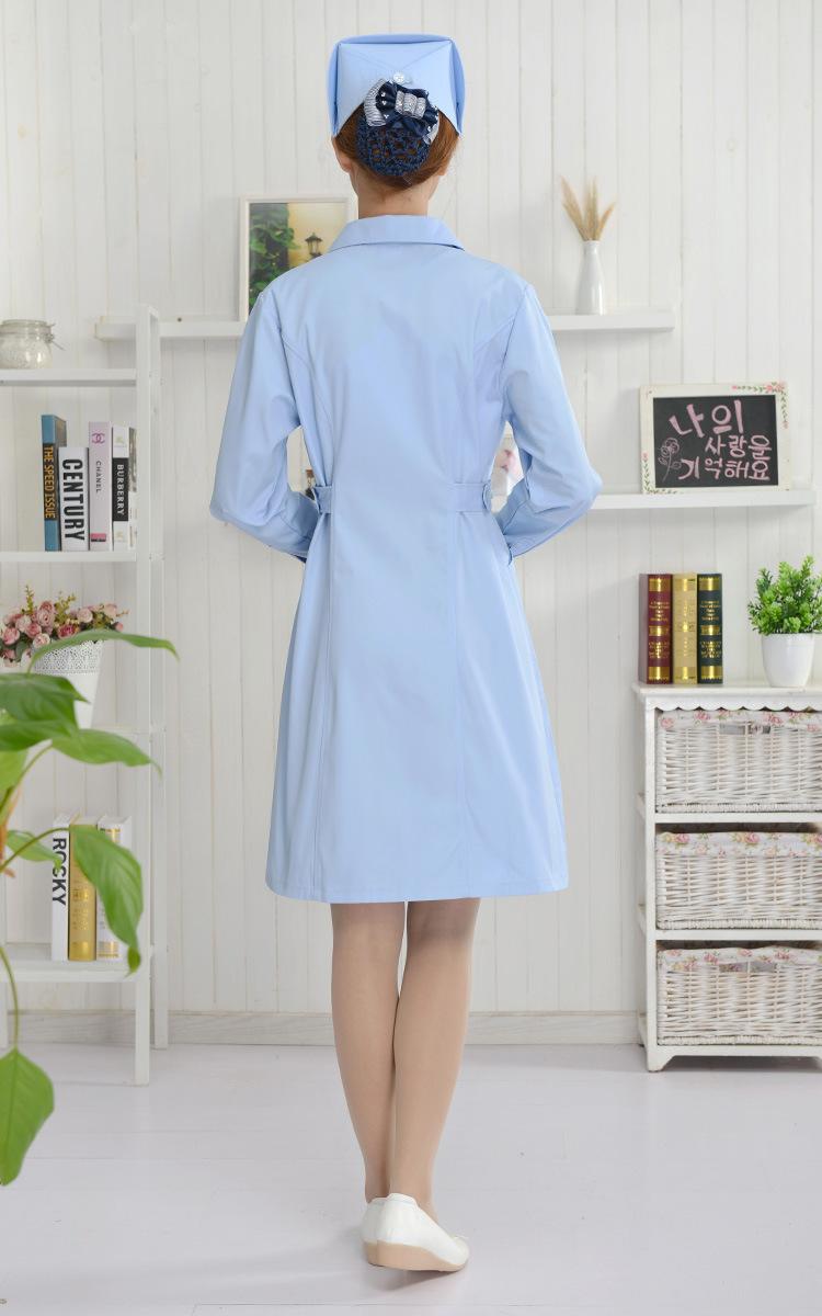 护士服 长袖护士服 蓝色纯棉护士服 大褂