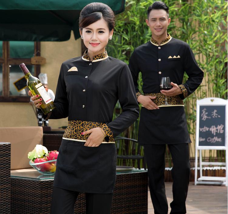 酒店工作服秋冬装长袖女快餐厅前台收银工服