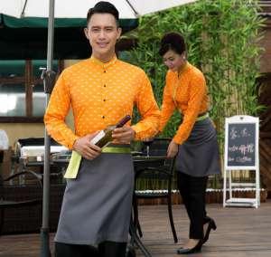 快餐店工作服长袖餐饮网咖制服西餐厅酒店服务员秋冬装加围裙