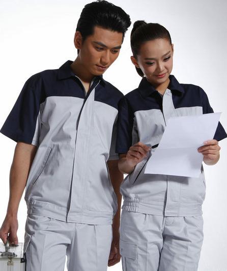批发夏季工作服套装短袖男汽修工厂劳保服 薄款短袖工程制服
