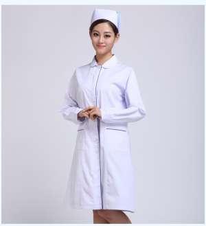 护士服冬装娃娃领白色加蓝边 长袖医生服护士服白大褂