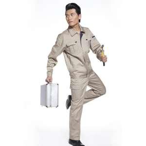 纯棉米黄色工作服涤棉电焊工作服加厚防静电工作服套装